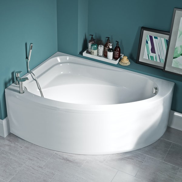 Orchard Elsdon left handed offset corner bath with panel 1500mm