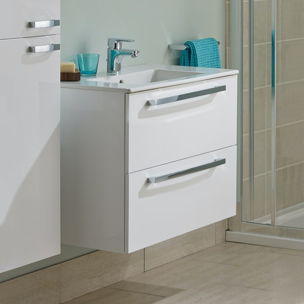 Ideal Standard Tempo gloss white wall hung vanity with 1 tap hole basin 500mm