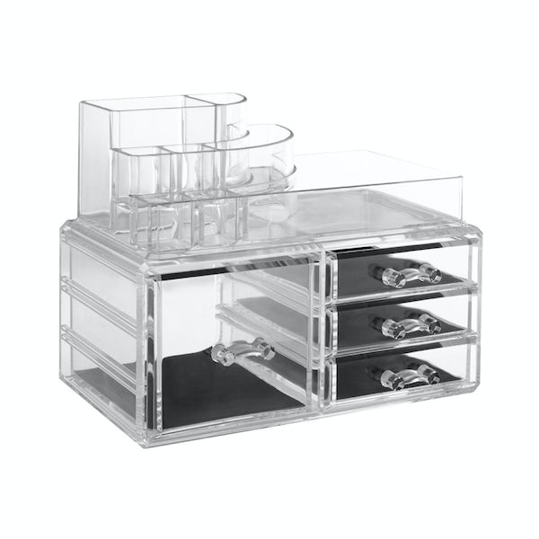 Clear cosmetic organiser with 8 compartments and 4 drawers