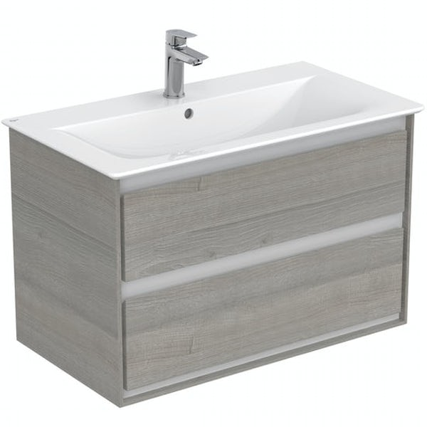 Ideal Standard Concept Air wood light grey vanity unit with open back close coupled toilet with free tap