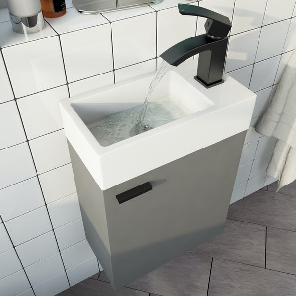 Clarity Compact satin grey wall hung vanity unit and basin 410mm with tap and black handles
