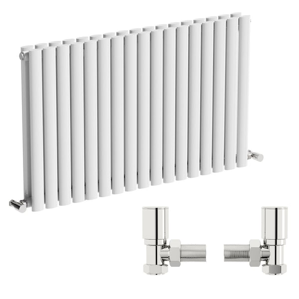 Mode Tate white double horizontal radiator 600 x 1000 with angled valves