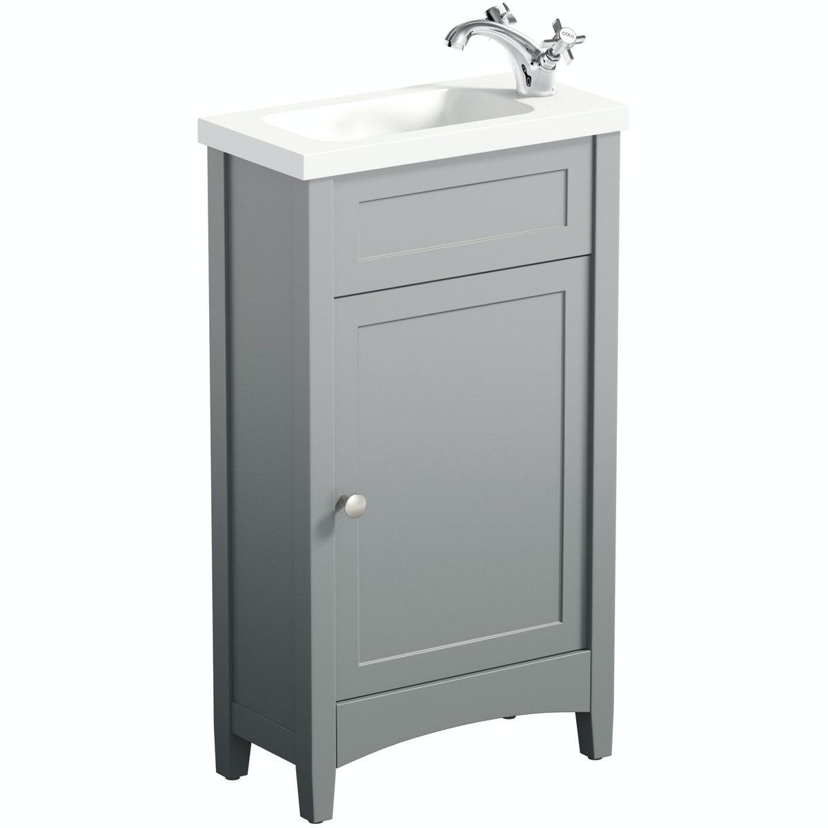 The Bath Co. Camberley Satin Grey Cloakroom Floorstanding Vanity Unit And  Basin 460mm