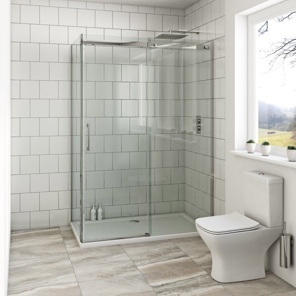 Mode Harrison 8mm easy clean sliding shower enclosure offer pack