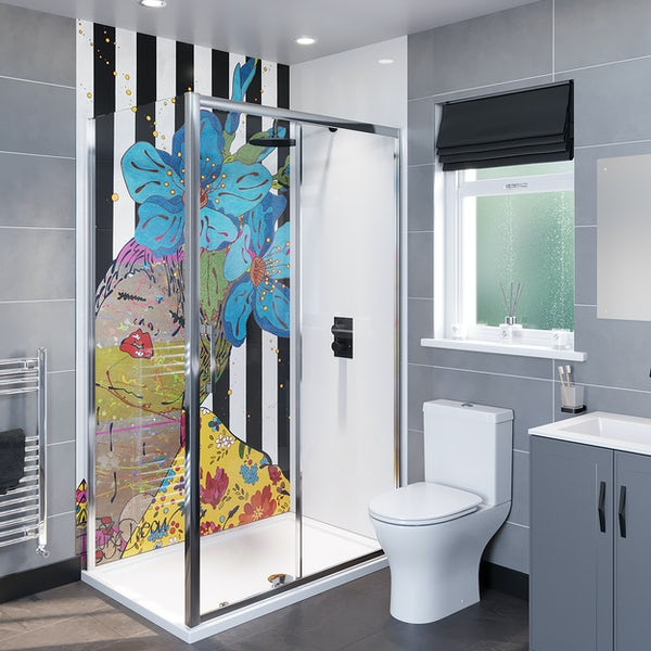 Louise Dear And I think of You acrylic shower wall panel with 1200 x 800mm rectangular enclosure