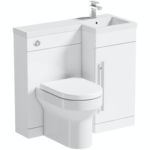 Orchard MySpace white right handed unit with Wharfe back to wall toilet