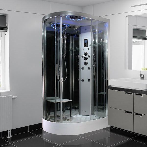 Insignia Platinum black framed offset quadrant right handed steam shower cabin