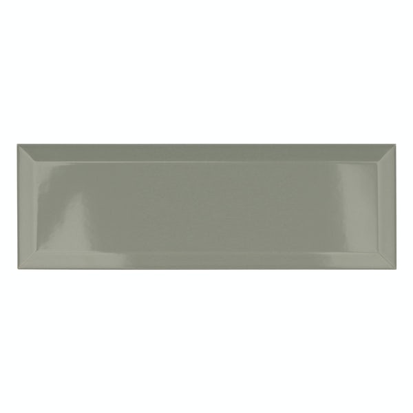 Maxi Metro sage bevelled gloss wall tile 100mm x 300mm