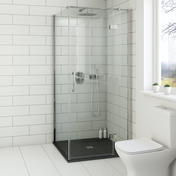The Mode Black Slate Effect Square Stone Shower Tray