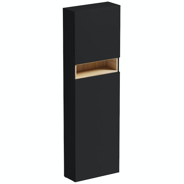 Mode Tate anthracite & oak tall back to wall toilet unitMode Tate anthracite black & oak tall back to wall toilet unit