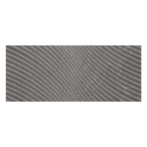 Matano dark grey textured stone effect matt wall tile 250mm x 600mm