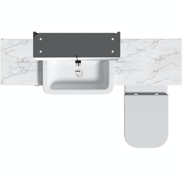 Mode Nouvel gloss grey small fitted furniture & mirror combination with white marble worktop