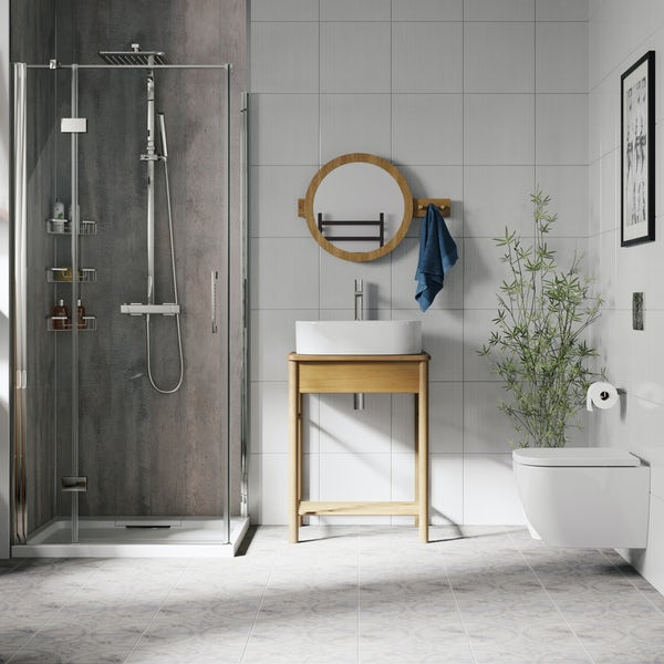 Mode South Bank natural wood countertop complete shower enclosure suite 900 x 900mm