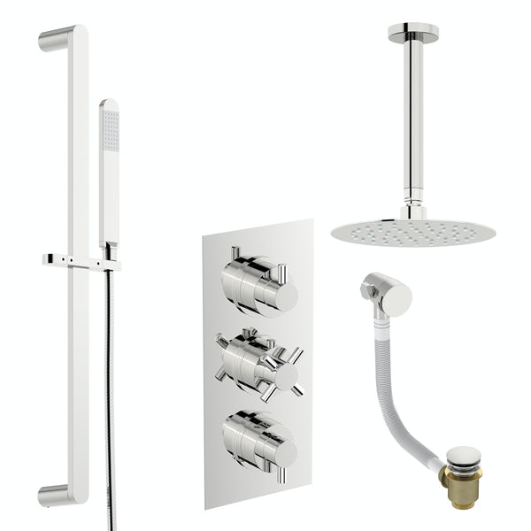Mode Tate thermostatic mixer shower with ceiling shower, slider rail and bath filler