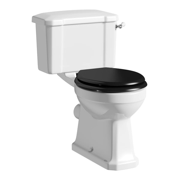 Camberley Close Coupled Toilet inc Luxury Black Seat
