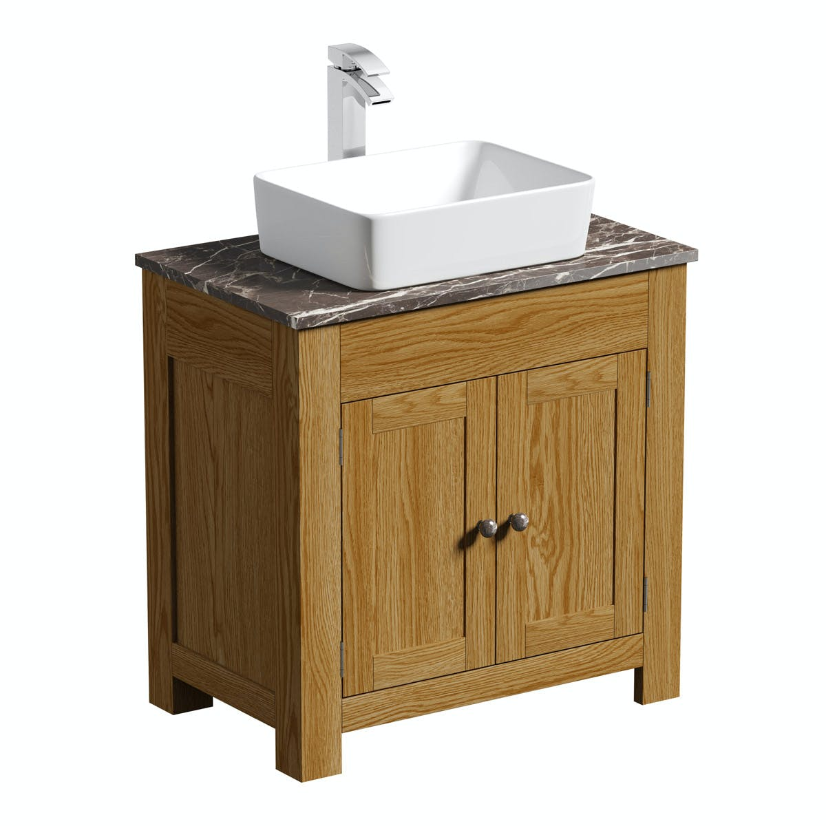The Bath Co Chester Oak Washstand With Brown Marble Top And Ellis Countertop Basin