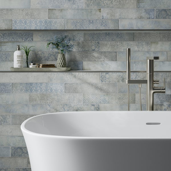 Granada blue traditional matt wall and floor tile 75mm x 385mm