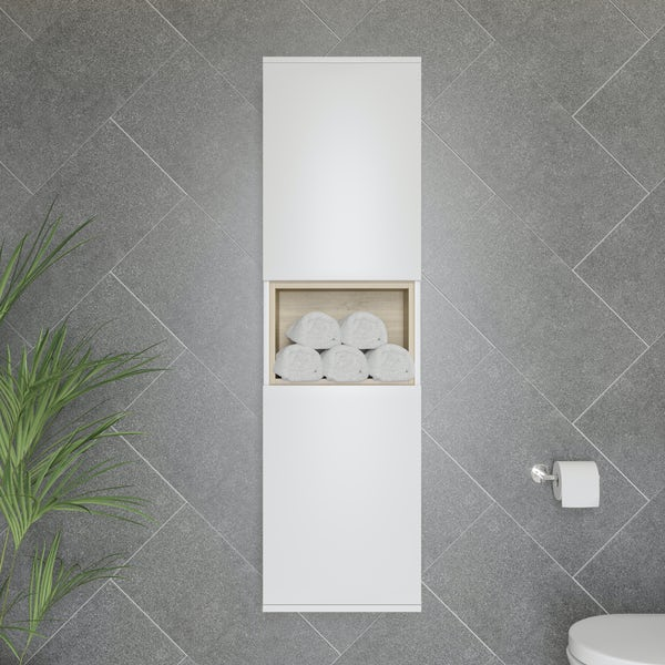 Mode Tate II white & oak furniture package with wall hung vanity unit 600mm