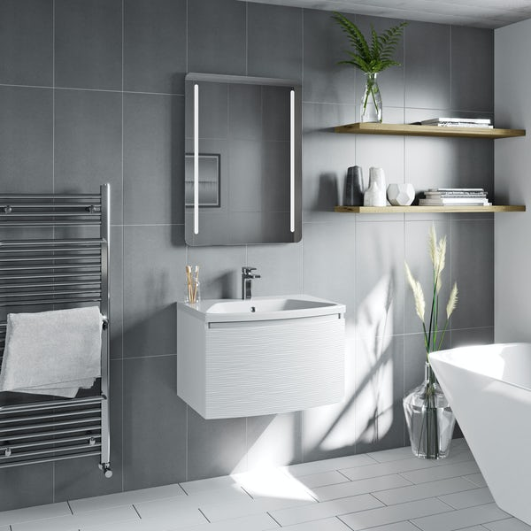 Mode Foster textured matte white wall hung vanity unit and basin 660mm