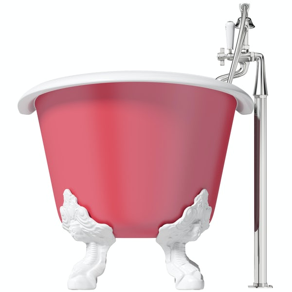 Artist Collection Pucker Up Pink traditional freestanding bath & tap pack