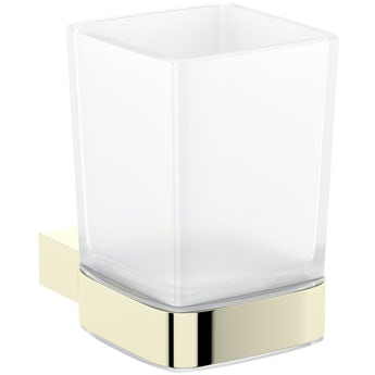 Mode Spencer gold tumbler and holder