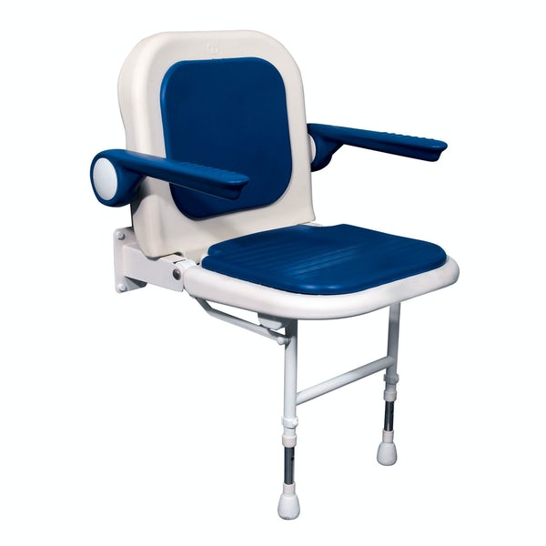 AKW Advanced folding shower seat with moulded seat and full padding blue