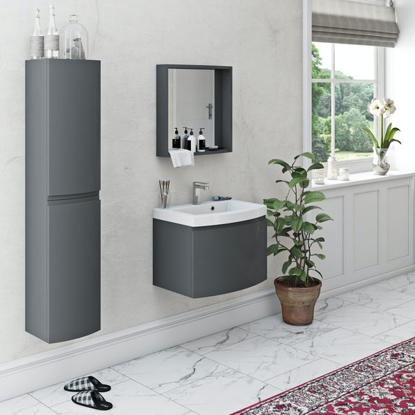 Mode Harrison slate gloss grey furniture package with wall hung vanity unit 600mm