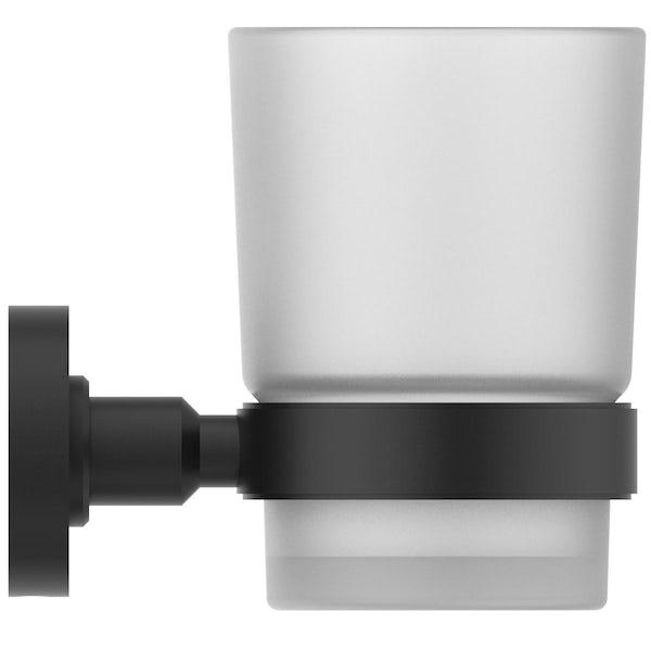 Ideal Standard IOM silk black toothbrush tumbler and holder