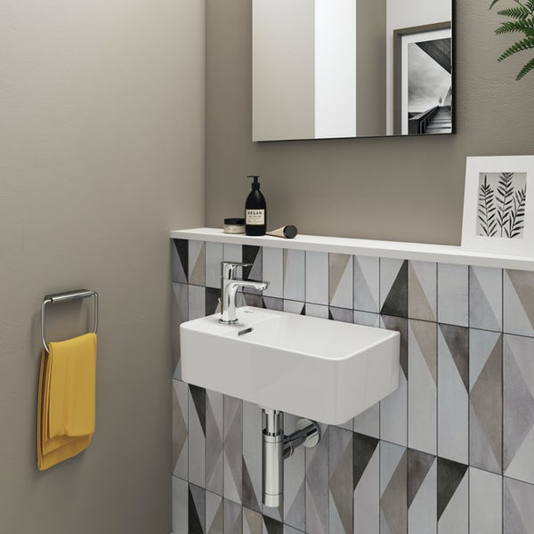 Ideal Standard Strada II back to wall cloakroom suite with left hand wall hung basin 450mm