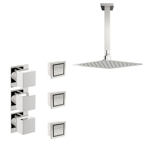 Mode Cooper thermostatic shower valve with body jets and ceiling shower set