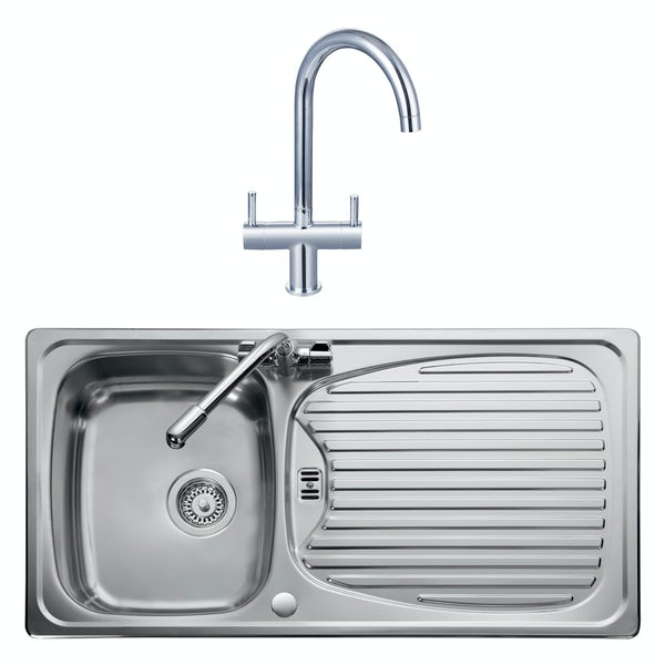 Leisure Euroline reversible stainless steel 1.0 bowl kitchen sink and Schon Burgh tap