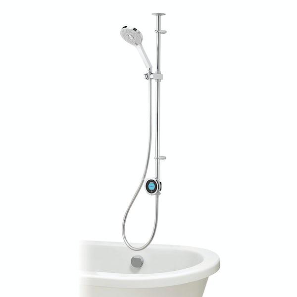 Aqualisa Optic Q Smart exposed shower with adjustable handset and bath overflow filler