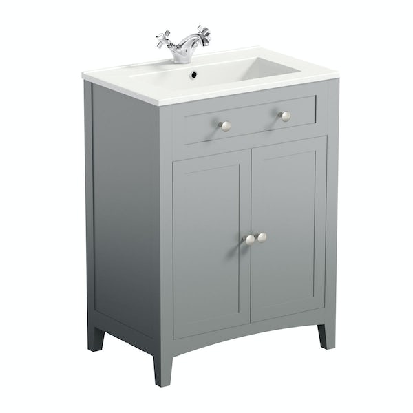 The Bath Co. Camberley satin grey 600mm vanity unit with basin and waste
