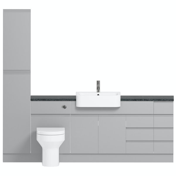Orchard Wharfe slate matt grey straight large drawer fitted furniture pack with black worktop