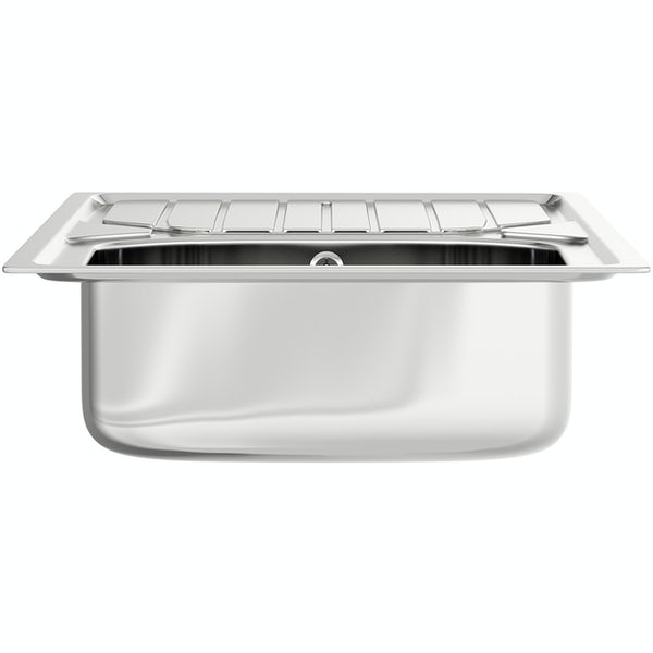 Basix stainless steel 1.0 bowl kitchen sink with polished satin inset kitchen tap