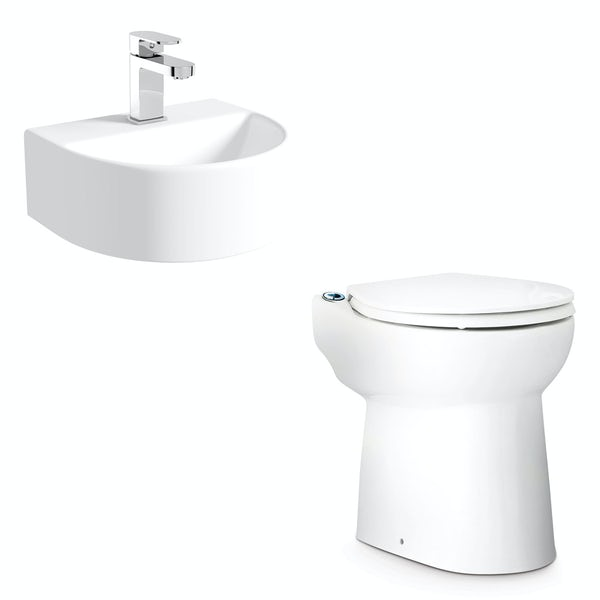 Saniflo Sanicompact cloakroom solution with cisternless back to wall toilet, macerator and small basin 310mm