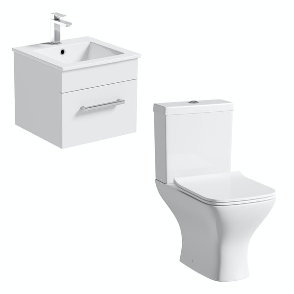 Orchard Derwent white cloakroom suite with square close coupled toilet