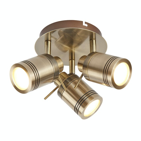 Searchlight Samson antique brass 3 light bathroom ceiling light