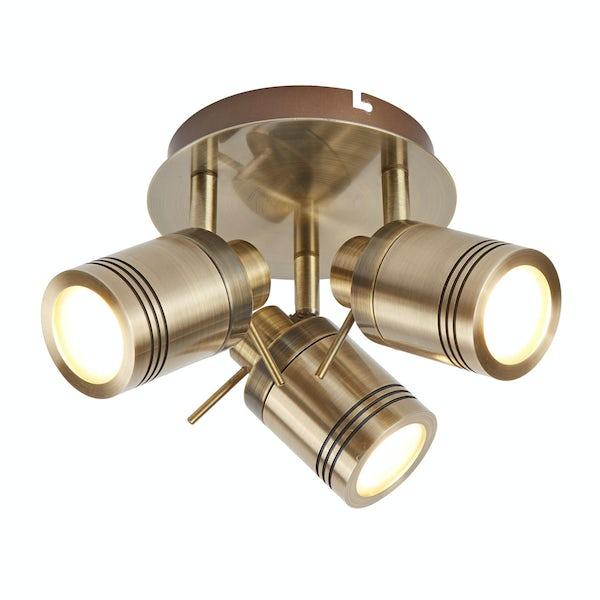 Searchlight Samson antique brass 3 light bathroom ceiling light