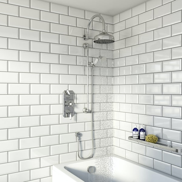 The Bath Co. Camberley concealed thermostatic mixer shower with wall arm, slider rail and bath filler