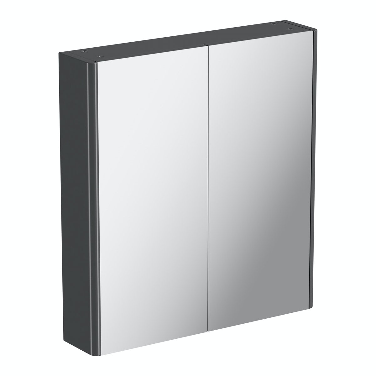 Mode slate grey curved mirror cabinet 650 x 600mm