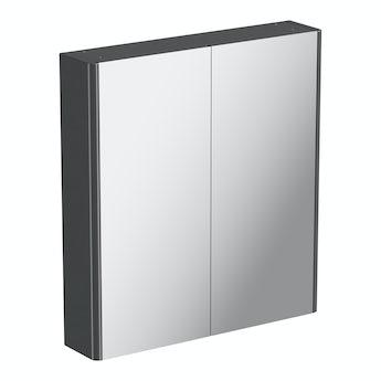 Mode slate gloss grey mirror cabinet 650 x 600mm