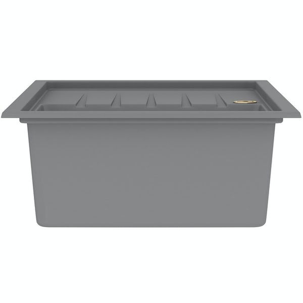 Bristan Gallery quartz left handed dawn grey easyfit 1.0 bowl kitchen sink with Melba black tap