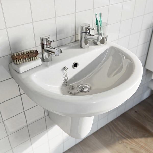 Eden 2 tap hole semi pedestal basin 550mm