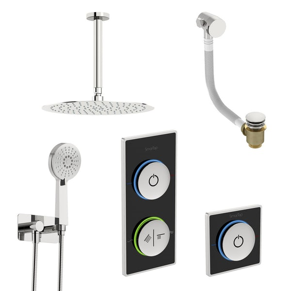 SmarTap black smart shower system with complete round ceiling shower outlet bath set