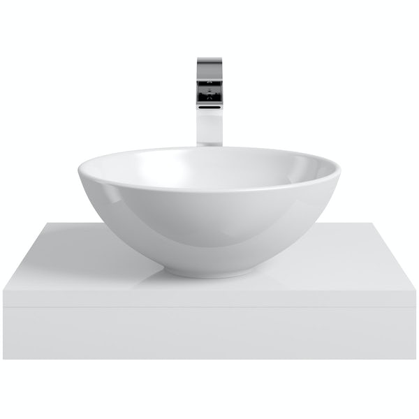 Mode Orion white countertop shelf with Derwent basin, tap and waste