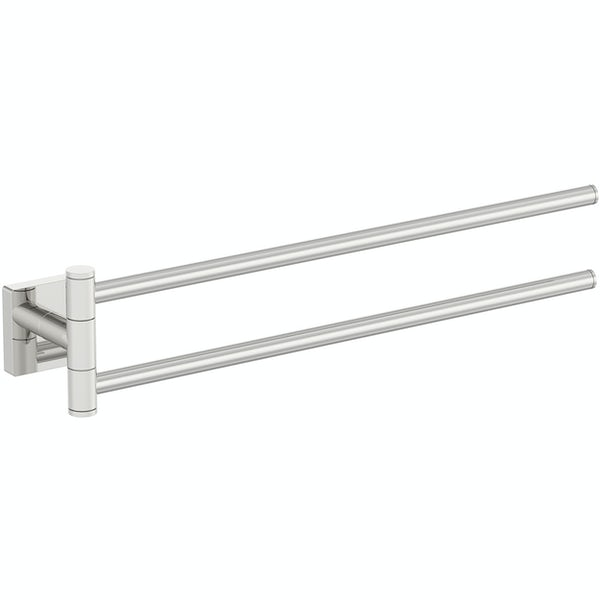 Accents square plate contemporary double towel rail