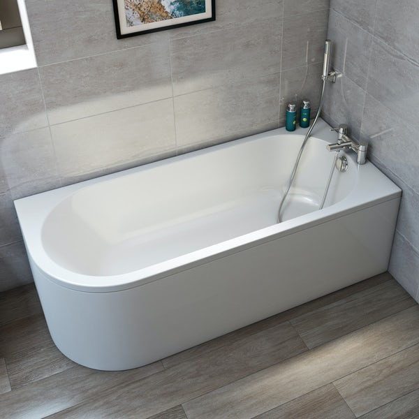 Orchard Elsdon right handed J shaped single ended bath 1700 x 750