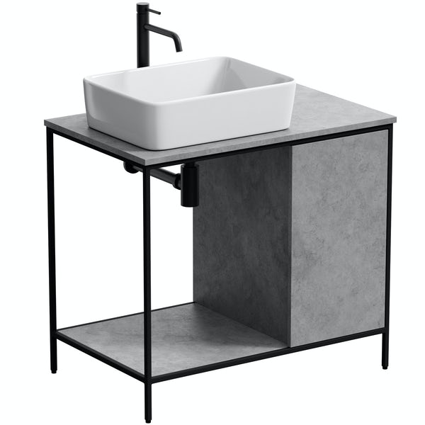 Mode Bergne dark concrete grey washstand and black steel frame 812mm with Ellis countertop basin, tap, waste and trap