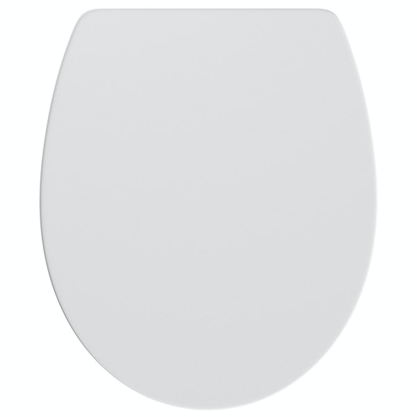 Universal thermoset top fix toilet seat with stainless steel soft close and lift off